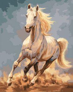 Details zu Running White Horse HP Design-Nadelspitzentuch E # 424 - HP Design Needlepoint Canvas bilder zitate wallpaper hayvan White Horse Painting, Horse Canvas Painting, Canvas Art, Knife Painting, Painting Art, Seven Horses Painting, Painted Horses, Horse Artwork, Horse Wall Art