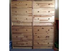 Double stacked Ikea Rast chest of drawers. I'm stacking two in our closet as a lingerie chest of drawers sort of thing. But I'm removing the base board off the top one for a little extra storage shelf/cubby space between the two. I just have to figure out how to anchor them together and to the wall. picture found on google.
