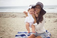 Modern Moni: Free People on the Beach // mom's look by @freepeople Carlsbad stylist, Claire Martin. Baby's headband by @lolanstella. #beachstyle #floppyhat