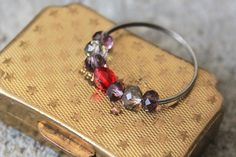 Red Sparkling Bead Double Band Ring by FAGR on Etsy