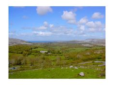 View of the Atlantic from Corkscrew Hill, Co. Clare, with the Burren on both sides.