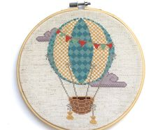 PATTERN Modern Cross Stitch Pattern - Vintage Hot Air Balloon - Instant PDF Download - Nursery Décor - Counted Cross Stitch Chart -