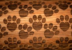 Heart Shaped Paws design! Decorative and purposeful Rolling Pin