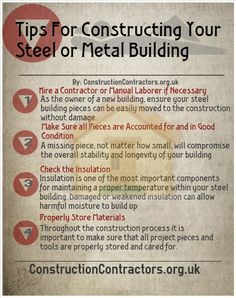 If you are considering building a steel frame building then here are some tips to get you started. See here for more: http://constructioncontractors.org.uk/steel-frame-commercial-buildings-homes-metal-storage-buildings-sheds-barns-garages/