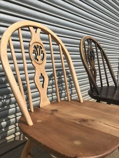 Fleur de lys dining chairs - one sanded back to blonde the other original Ercol Dining Chairs, Ercol Chair, Blue Velvet Dining Chairs, Orange Accent Chair, Accent Chairs, Painted Wood Chairs, Modern Cushions, Wishbone Chair, Decoration