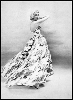 Actress Jennifer Jones in lovely strapless floral print gown by Christian Dior, Harper's Bazaar, October 1953