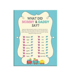 ****Baby Shower Party Game****     ********IF YOU WOULD LIKE CHANGES TO THIS GAME******** Complete the following 1} Click on the Request a Custom Order button above 2} Send me all the wording and/or colors you want. (Feel free to change any of the questions)   Guess Who is a game that can be played at a Baby Shower or a Couples Shower. Just ask the mommy and daddy the questions ahead of time then let the guest try to answer the same questions the way mommy and daddy have.   ****What you…