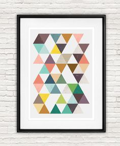 Geoemtric art Abstract poster Triangle print Pink and by handz