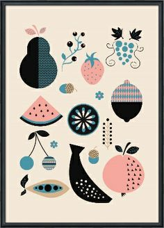Beautiful, fruity graphic art print. A stunning kitchen accent.