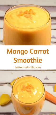 Mangos are rich and sweet and oh so juicy. Blend mango together with carrots in this mango carrot smoothie and you get a rich and creamy treat. Find the recipe on BetterMeforLife.com