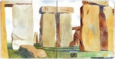 Stonehenge, from Adam McCauley's beautiful sketchbook, chronicling his recent trip to Italy and the UK. So proud to say Adam is Mr. Dog's illustrator! @mrdogschristmas