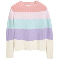 Ribbed Rainbow Blended Cashmere Intarsia Sweater | Luxury Sweaters |... ($380) ❤ liked on Polyvore featuring tops, sweaters, ribbed sweater, j.crew cashmere sweaters, crew neck sweaters, summer sweaters and ribbed top
