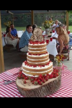 Strawberry Shortcake Wedding Cake.I  like this idea for a vows renewal .. ~Angie