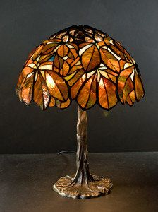 Tiffany brown Chestnut small lamp. Original stained glass lamp. Bedside cute lamp. Nightstand lamp.