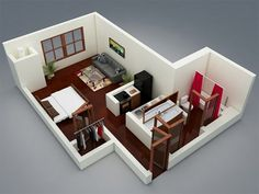 We feature 50 studio apartment plans in perspective. For those looking for small space apartment plans, your search ends here. Studio Loft Apartments, Small Apartment Layout, Studio Apartment Floor Plans, Condo Floor Plans, 3d House Plans, Apartment Plans, One Bedroom Apartment, Small House Plans, Small Apartments