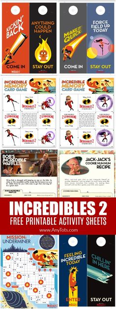 Incredibles 2 Free Printable Activity Sheets - Any Tots Incredibles Birthday Party, Birthday Party Games, Boy Birthday, Birthday Ideas, Birthday Board, Third Birthday, Party Printables, Free Printables, Kid Party Favors