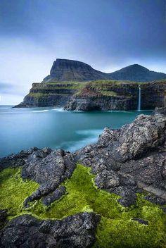Gásadalur waterfall in Faroe Islands, Denmark