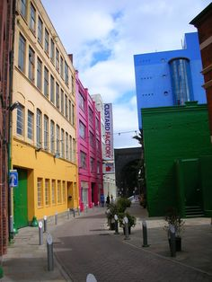 The Custard Factory in Digbeth - differernt colour backgrounds