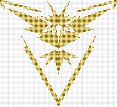 Pokemon Go Team Instinct cross stitch pattern 87x95 stitches