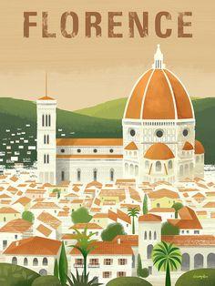 Florence travel poster by Michael Crampton Art Deco Posters, Room Posters, Poster Prints, Poster Vintage, Vintage Travel Posters, Travel Wall, Travel Illustration, Instagram, Digital Art