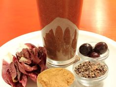 Sensual DetoxSip yourself sexy.  Serves 1-2  1 tablespoon of Essential Living Foods cacao powder2 tablespoons of hemp seeds4-5 red endive leavespinch of Essential Living Foods green stevia¼ cup of organic fresh or frozen dark red cherries8-12 oz pure water  BLEND all ingredients.