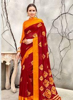 6383524b274 Maroon Art Silk Designer printed Saree sku 618142 Kota Silk Saree
