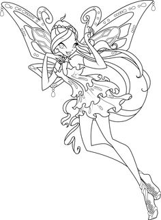 Winx Club Coloring Page Bloom Stella Flora Musa Tecna And