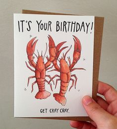 It's Your Birthday Get Cray Cray Crayfish by PaperWildernessShop