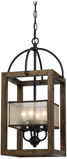 """Harper Wood 12"""" Wide Iron Pendant Chandelier - for the library/office"""