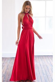 Elegancka Długa Maxi Sukienka z Wiązaniem Czerwona