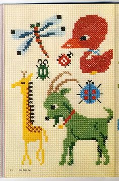 Japanese cross stitch animals giraffe goat bug