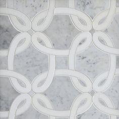 Whimsy Bianco Carrara Waterjet Marble Mosaic - 13 x 13 - 100463496 | Floor and Decor