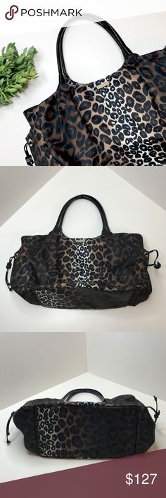 KATE SPADE Stevie Leopard Black Diaper Bag Purse 100% Authentic KATE SPADE Stevie Leopard Black Diaper Bag Purse Tote  Beautiful diaper bag, in very gently used condition!  It is missing the crossbody strap and the changing pad insert - both can be purchased separately if you want either. I never carried it crossbody, so it didn't bother me!  It's overall in excellent condition, please see photos for details and don't hesitate to ask any questions!   Your new Kate Spade bag will ship to you…