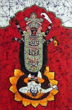 Goddess Kali (Batik Painting on Cotton Cloth - Unframed))