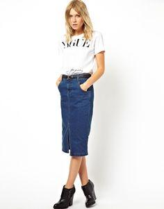 Look casual. Saia jeans com tênis   look saia e tênis. moda ...