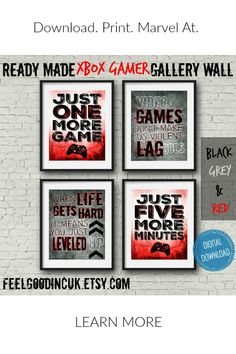 Set of four XBOX Video Game Prints for teen boy wall art or game room decor, video game posters, teen room decor, gaming decor, gamer room Gamer Bedroom, Boys Bedroom Decor, Teen Room Decor, Bedroom Ideas, Boy Bedrooms, Bedroom Loft, Kids Decor, Bedroom Wall, Revere Pewter