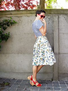 by annebeth, The Styling Dutchman: striped cropped top, high-waisted floral skirt, red heart sunnies & sandal clogs.
