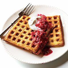 Lemon Cornmeal Waffles with Raspberry-Rhubarb Compote < Rhubarb Recipes - Cooking Light
