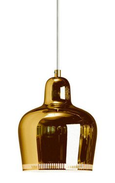 Brass plated steel pendant lamp by Alvar Aalto A330S for Artek