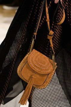 Chloe Tan Suede Shoulder Bag with Tassel - Fall 2015 Runway Spottedfashion.com