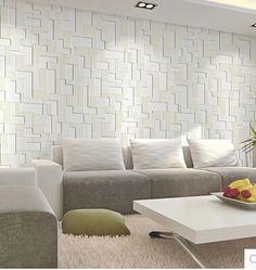Barato 10 M rolo Modern estilo simples superfície geométrica não tecido papel de parede 3D não tecido papel de parede papel de parede decoração tapete, Compro Qualidade Papéis de parede diretamente de fornecedores da China: material: não- tecidotamanho do rolo: 0.53*10m                                           &