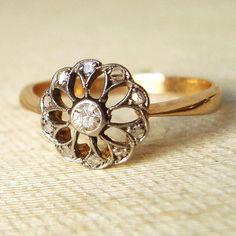 Antique Diamond Engagement Ring, Filigree 18k Gold Rose Cut Diamond Ring, Edwardian Wedding Ring
