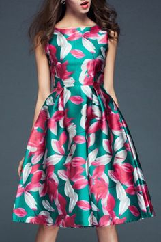 Stylish Slash Neck Flower Print Sleeveless Dress For Women