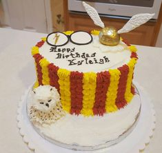 Harry Potter theme cake; no fondant...candy melts are versatile. All buttercream. Owl is a mini cupcake and cake ball stacked. Decorated with buttercream. Snitch is a cake ball covered in yellow candy melts and then painted with edible gold. Wings are white chocolate drawn on a lollipop stick. Glasses are black candy melts, white candy melts drawn to look like glasses on wax paper. Lightening bolt is yellow candy melts and painted gold.