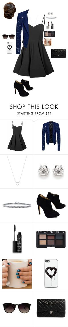 """""""Untitled #292"""" by kylietownsend on Polyvore featuring Glamorous, Material Girl, Tiffany & Co., BERRICLE, Giuseppe Zanotti, NARS Cosmetics, Zero Gravity, Ray-Ban and Chanel"""