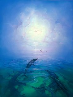 Dolphin Serenity 1992 by John Pitre, Original Painting, Oil on Canvas