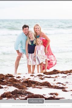 Beach family pictures, Florida, beach clothing ideas, Watercolor pictures, Seaside pictures, children beach photography // Catherine Clay Photography