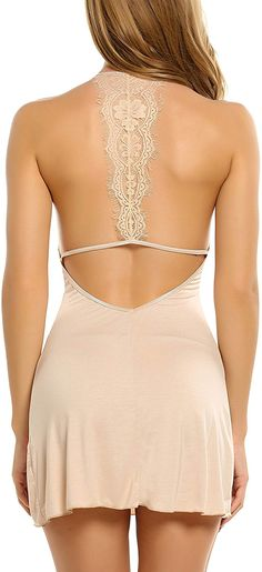 Avidlove Sleepwear Womens Chemise Sexy Nightie Full Slip Lace Babydoll Dress Apricot Small * Check out this great product. (This is an affiliate link) Lingerie Fine, Pretty Lingerie, Lingerie Models, Women Lingerie, Dress Neck Designs, Lingerie Sleepwear, Nightwear, Mini Club Dresses, Lace Babydoll