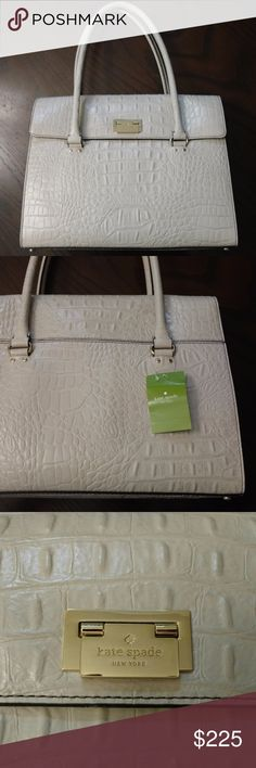"""NWT Kate Spade Sinclair Orchard Valley Purse New with tags Kate Spade Sinclair Croc Embossed Orchard Valley Purse in Sidewalk (Ivory) Width 13.5"""" Height 10.5"""" Depth 5.5"""" Handle Drop 7.5"""" Gold-toned hardware Gold-toned protective feet Flap top with lift lock closure Inside beige lining with one zipper pocket, two open pockets kate spade Bags Satchels"""