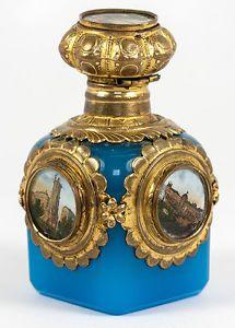 Antique-French-Blue-Opaline-Perfume-Cologne-Bottle-5-Eglomise-Views-of-Paris